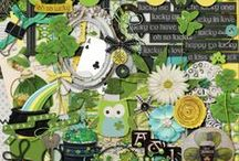 {Oh So Lucky!} Digital Scrapbook Kit by Magical Scraps Galore / It's always important to remember just how lucky we are. In shades of green and turquoise, with a dab of white and black, Oh So Lucky! collection is perfect to scrap St Patrick's Day celebrations, your Irish heritage, as well as March or springtime layouts and all those lucky everyday moments that you wish to cherish forever. This collection includes 1 full alpha: uppercase, numbers and punctuation, 28 textured papers (8 cardstocks, 20 unique patterns) and 58 elements.
