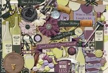 {Time 4 Wine} Digital Scrapbook Kit by Magical Scraps Galore / With a beautiful palette of purples, fresh green and cream, this elegant collection is perfect to scrap trips to wineries, vineyards, wine tastings, a romantic date, a girls night out, even memories of that perfect bottle you've been saving for a special celebration … So whether you're a connoisseur or just an occasional sipper, sit back, pour yourself a nice glass, and enjoy scrapping all your favorite wine stories!