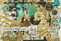 {All Is Bright} Digital Scrapbook Kit by Magical Scraps Galore / Add some shimmer and elegance to your holiday pages with my new collection, All Is Bright! In a gorgeous palette of golds, white, seafoam green and charcoal, this kit is loaded with beautiful elements and paper patterns that will make your holiday memories shine and sparkle. Perfect to showcase your Christmas photos in style, as well as to design holiday cards, ornaments, and so many other projects!