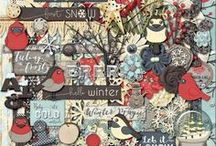 {Feeling Frosty} Digital Scrapbook Kit by Magical Scraps Galore / Enjoy the magical white season of the year and scrap your winter activities and memories with this gorgeous collection! In a beautiful palette of blues, whites, grays, and the perfect touch of red, this kit is filled with winter beauty and adorable snow birds that will warm your heart! Winter may be chilly and frosty, but it doesn't have to be gloomy!