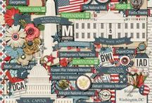 {Washington DC} Digital Scrapbook Kit by Magical Scraps Galore / Washington DC is my new collection inspired by my many trips to this beautiful city. In patriotic colors and filled with my custom drawn elements, this collection features DC's most important landmarks and is perfect to scrap not only your trips to the Nation's Capital, but also your Independence Day photos, your voting experiences, and all your patriotic layouts that celebrate your American heritage.
