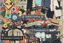 {Amish Country} Digital Scrapbooking Kit by Magical Scraps Galore / Inspired by the Amish Country in Pennsylvania, this kit depicts the simple lifestyle of the Amish community, with their horse-drawn buggies, traditional clothing and bonnets, beautiful handmade quilts and crafts, and breathtaking scenic farmland. So turn back the clock, slow down, and have fun scrapping your photos of the Pennsylvania Dutch Country!