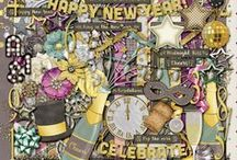 {Cheers!} Digital Scrapbook Kit by Magical Scraps Galore / Are you ready to celebrate? CHEERS!  is an elegant collection full of gold, glitter, party favors and New Year's elements, perfect to capture the excitement of a new beginning, a glamorous celebration, or your special memories in style.