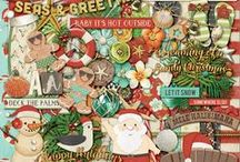 {Seas & Greetings} Digital Scrapbook Kit by Magical Scraps Galore / SEAS & GREETINGS is a fun non-traditional Christmas collection created for those who have never had a white Christmas! In a beautiful and rich color palette, this fun design mixes tropical elements with Christmas patterns. So whether you live in the Southern hemisphere, are celebrating Christmas on the beach, or you simply dream of being somewhere warmer, this fun collection is the perfect choice for documenting your warm Holiday Season.