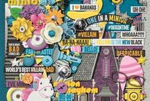 {One in a Minion} Digital Scrapbook Collection by Magical Scraps Galore / Add some fun to your layouts with this One in a Minion collection! In bright colors, this collection is full of fabulous goodies, such as funny eyes, denim overalls, bananas, a house, a unicorn, a striped pink beanie with ear flaps, a yellow hydrant, a striped black and grey scarf, among many other fabulous elements and patterns, and it's perfect to document your favorite movie, a themed birthday party or your character meet and greets.