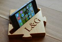 Wood iPhone docks / Wooden iPhone docks and mobile phone stands. Cell phone holders made of wood.