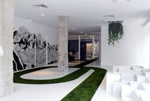 Graphic Office Interiors / Works Spaces that use strong graphic elements to stand out.