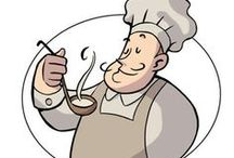 Ilustraciones cocineros / Muy facil los podemos transformar en bonitos apliques para la cocina.