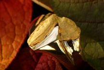 Gold Nugget Rings - Men / Men's Alaskan Gold Nugget Rings...handcrafted right here in our shop at Gold Rush Fine Jewelry in Fairbanks Alaska...Just as mother nature did not make raw, natural gold nuggets exactly the same, no two gold nugget rings can be identical. ~ (907) 456-4991 or email service@goldrushfinejewelry.com