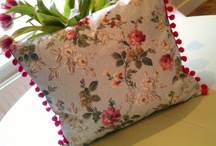 Vintage fabric........Cohama/Riverdale, complimented with cerise pom poms