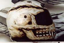 a grin fangs teeth /  fall skull heads aibrush moto helmets & masks
