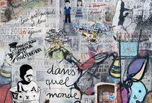 """Photo montage : série """"graffitis, population..."""" / Les graffitis, source d'inspiration, Nous tous habitants de cette planète : tous pareils, tous pas pareils Notre monde est en perpétuelle mutation.  L'architecture est un symbole emblématique pour nombre de capitales :  toujours plus haut, plus grand, plus démesuré ! Ces buildings sont une façon pour les pays d'encrer leur pouvoir, leur puissance ! Je travaille sur les façades que je fais basculer pour y installer des habitants qui viennent du monde entier."""