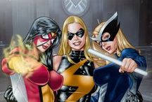 Mockingbird,Spiderwoman&Black Widow+Hawkeye / by Corruptcop Leon483 was protected by Pa politicians