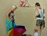 Emma Cownie - People Portraits / Emma Cownie. Contemporary artist. Oil Paintings. Urban scenes. Swansea. South Wales. People.