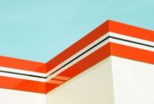 Minimalist Architectural Photography / Photographs of architecture. Minimal images. Bright colours. Strong Line. Complimentary colours - few or no people.