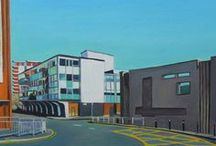 Emma Cownie - Streetscapes / Award-winning and best-selling contemporary realist artist. Based in Swansea, South Wales. Specialising in oil paintings of houses and streets. Shadows and light on urban settings. Minimalist urban art.