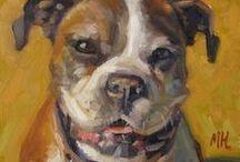 "Pet Portraits / 8x8"" oil paintings on panel"