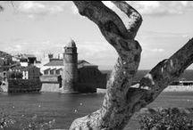 """Collioure / A Collioure, me retrouver dans cette ancienne ville forte, dominant une magnifique baie, et contempler ce berceau du fauvisme, où Matisse, Derain, Manguin, Marquet, Picasso, Braque, Dufy, Chagall, Foujita... ont su si bien capter ces lumières exceptionnelles, que j'ai préférè, par modestie, les """"intrepréter"""" en Noir & Blanc ! Une étape au """"Relais des 3 Mas""""et à son restaurant étoilé """"La Balette"""", compléta ce séjour, dans ce magnifique petit port de pêche Catalan..."""