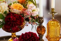 Vintage Amber Glass, Vessels, Vases, Goblets, Glassware and Floral Centerpieces for Dallas Weddings / Vintage amber glass, vessels, and vases- Add a modern retro vintage twist and romantic style to your party or wedding head tables and reception tablescapes!   Dixie Does Vintage Rentals in Dallas Tx www.dixiedoesvintage.com