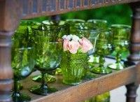 Green Vintage Glassware, Goblets, Floral Vessels, Vases, & Compotes Dallas Wedding Rentals / Tablescape inspiration for your wedding or event using vintage green glassware and vintage vases and vessels! Add some Greenery Pantone's 2017 color of the year to your wedding! Dixie Does Vintage in Dallas TX serving DFW Area