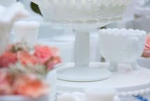 Milk Glass Weddings, Bridal Showers, Romantic Vintage Centerpieces, Vases, Vessels, & Compotes / Nothing is more quintessentially romantic than vintage milk glass compotes, containers, and vases in assorted sizes and patterns! Use for bridal showers, weddings, and parties, floral arrangements, head tables or dessert bars.  Dixie Does Vintage Rentals  in Dallas TX