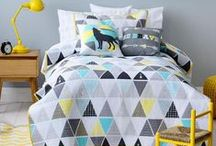 Adairs Kids Dream Room / Transitioning from child into tween. Black, gray and white base with accents of yellows and blues. A mix of Scandinavian with Native American themes