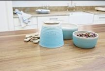 Dog bowls and Treats Jars / When only the best will do for dining in style!  Dog bowls and treat jars #designerdog