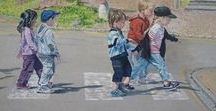 Schilderijen van/met Kinderen / This paiting is about children, about how they live in their own surroundings and the relation to others