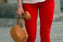 red pants spring-summer / red-cerise-deep red pants, capri, shorts
