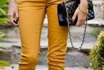 yellow pants / yellow pants, capri, shorts