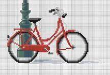 Krížiková výšivka - Bicykle, autá