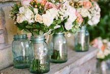 jars >//< / mason jars glass vase decor wedding southern old vintage blue