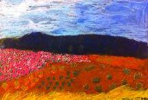 PEJZAŻ / LANDSCAPE / landscape, malarstwo, painting, drawing, rysunek