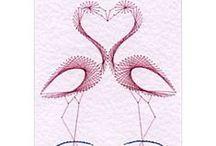haft matematyczny - string art - izonitka - na papierze/kartonie