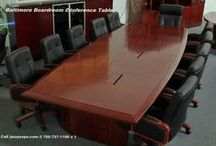 """Boardroom Conference Table - Baltimore Model / The Baltimore Boardroom Table is an elegant conference room table with integral computer connection e-sub-panels built into the table top. This walnut wood conference table is stocked in many lengths from 10'-9"""" up to 20' with 2' increments.  http://www.jazzyexpo.com/boardroomtable.html"""