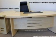 San Francisco Modern Designer Desk / The San Francisco Designer Desk comes in 3 different wood types. It comes with a matching wood front modesty panel. It also has a computer connection panel. The Return also comes with a computer connection panel.   http://www.jazzyexpo.com/moderndesk.html