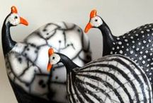 Guinea Fowl Sculptures