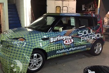 "Kia Soul: Behind the Scenes & Progress Shots / Burlington Kia turned to Brands Imaging to design an eye catching, party inspired wrap for their special events vehicle – the ""SOUL PATROL""."
