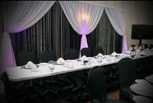 Head table decor~ wedding / Head table décor, draping, ruffled skirting and swags.