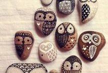 pietre e legno dipinti / Decoro legno e pietre
