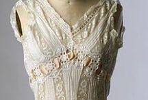 1900s lingerie / Edwardian underwear from 1900-1914: corset, petticoat, combination, drawers, princess petticoat, nightgown, peignoir, corset cover...