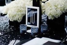 Black & White Wedding Inspiration / Classic black and white wedding inspiration including everything from place cards, invites, decor, and more! Brought to you by Milroys Tuxedos.  www.MilroysTuxedos.com