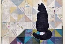 CAT INSPIRED QUILTS / I made a quilt dedicated to cats for my daughter.  This was our inspiration board.