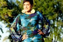 McCalls 6886 Bishopo sleeve dress! / Print & Orange Citrus Bishop Sleeve dress!