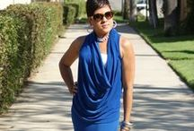 Draped skirt & M6841 in Blue / Vivid blue draped top and flare skirt!