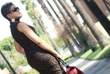 Animal Print sleeves dress for California Fall / I love the high neck and print!