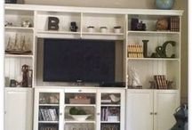 Display Ideas / how to decorate display, how to decorate bookshelves, how to decorate open display cabinets. Decorating inspiration. farmhouse style decor.
