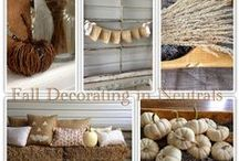 Halloween / Fall Ideas / Fall decorating ideas, how to decorate for fall, french country fall decor, neutral fall home tour, white pumpkins, burlap pillows, autumn home decorating. Fall porch ideas. Halloween Inspiration, Halloween ideas, Fall inspiration
