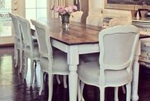 Dream Dining Room / relaxed dining, cottage chic decorating, shabby chic home decor, harvest tables, upholstered dining chairs, french provincial dining.Farmhouse dining room, wood X chairs. Restoration Hardware Style.