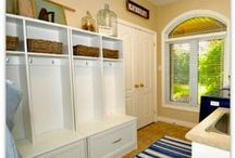 mud room ideas / mudroom ideas, white storage bench, decorating laundry mudroom combo. white hall tree. mudroom hooks. Mudroom inspiration.